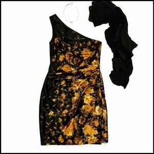 Maggy London Black Gold Floral One Shoulder Dress